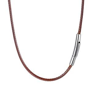 PROSTEEL Kunstleder Halskette/Armband Schwarz geflochten Lederkette Lederband 2mm/3mm breit Damen Herren Kette für Anhänger mit Edelstahl Verschluss 41-76cm wählbar
