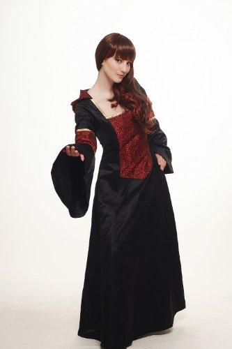 DRESS ME UP – Kostüm Damen Damenkostüm aufwändiges Kleid mit Haube Mittelalter Romantik Elfe Gotik Gothic Burgfräulein Weinrot-Schwarz L076 Gr. 42 / M - 4