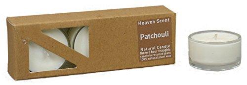 3 PaTCHOULI beduftete natural tealights in recycled Glashüllen from plant, beduftet with...