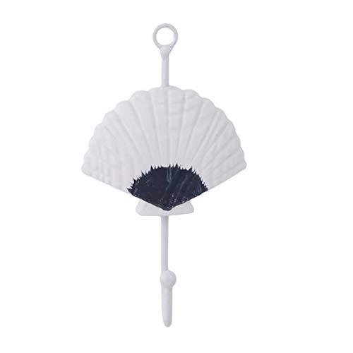 Yeucan Fisch Shell Kleiderhaken Seestern Wand Handtasche Mantel Handtuchhalter für Heimtextilien, Jakobsmuschel (Kleiderhaken Fisch)