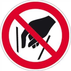 Aufkleber Hineinfassen verboten nach ISO 7010 10cm Ø Folie gemäß ISO 7010, P015