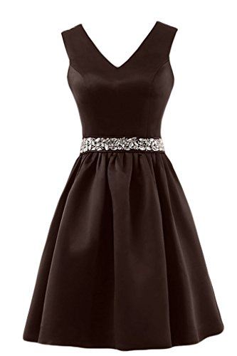 Sunvary A-line con scollo A V, con fascia di abiti da sera Homecoming Gowns Brown