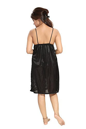 Noty - 2 Pc Women's/Girls' Hot Night Robe and Night Slip (Fab Black)