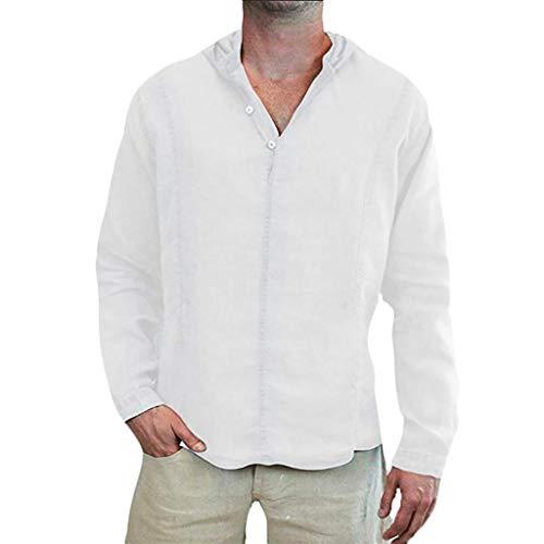 CICIYONER Kapuzeshirt Herren Leinen Hemd Tshirt Männer Baumwolle Lose Feste Langarm Mit Kapuze Top Shirt Pullover Bluse Schwarz Blau Pink Weiß M L XL XXL XXXL