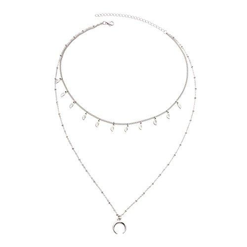 Lafeil Ketten Damen Modeschmuck Kette Damen Silber Blätter Mond Crescent Charms Zweireihig 2 Choker Halskette