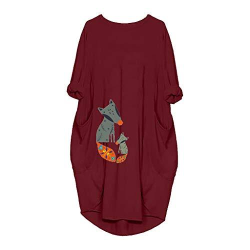 ➤Refill➤ Damen Kleider Tshirt Kleid Winterkleid für Damen Langarm Tierdruck Casual Skaterkleid Freizeit Kleider Fließendes Kleid mit Taschen -