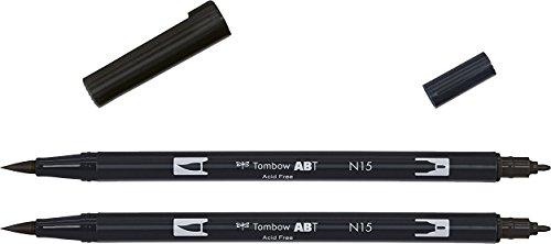 Tombow ABT-N15 Fasermaler Dual Brush Pen mit zwei Spitzen, Doppelpack, black