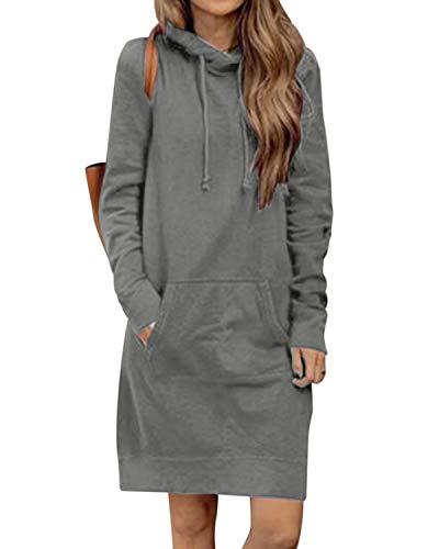 Kidsform Damen Herbst Hoodies Lang Kapuzenpullover Damen Long Sweatshirt Oversize Pulloverkleid Damen Winter DunkelGrey XL
