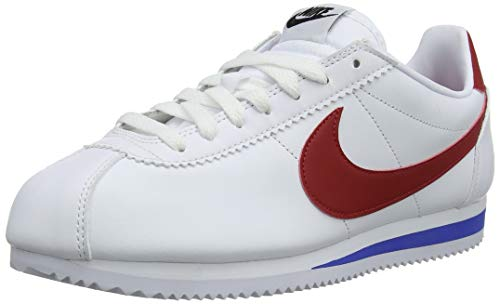 Nike Classic Cortez Leather, Scarpe da Ginnastica Basse Donna, Bianco (White Red/Varsity Royal 103), 41 EU