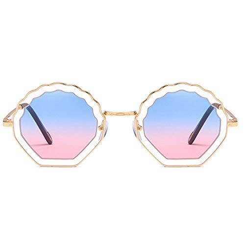 Junecat Blume geformt Runde Sonnenbrille Metallrahmen PC Objektiv Sonnenbrillen UV400 Schutz Shades Brillen