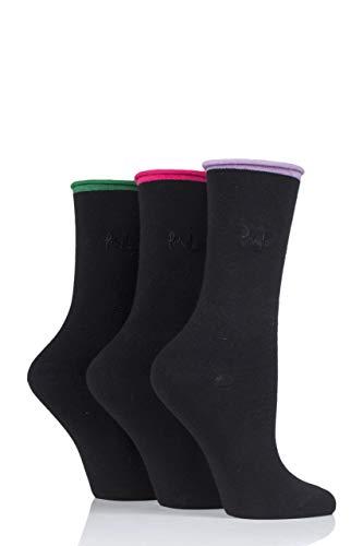 Pringle Damen 3 Paar Rebecca Kontrast Roll Top Socken (Schwarz/Lila, 36-41)