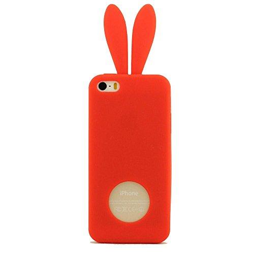Coque Housse étui de Protection pour iPhone 5 5S 5C 5G iPhone SE - Rose, Prime Silicone Gel Matériel Ultra Souple Doux style de Slim Coloré Oreille du Lapin Série Rouge