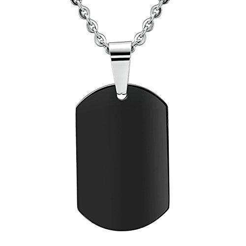 Daesar Colgante Collar Joyería Collar Colgante de Hombre Cuadrado Placa de Militar Dog Tag Grabado por Gratis Negro 2x3.1CM
