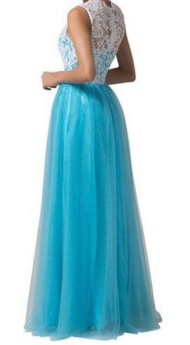 PLAER femmes Sexy Dentelle Engrener robe demoiselle d'honneur de mariage robe fête soir robe cocktail robe bleu ciel
