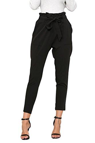 Simplee Apparel Damen Hosen Elegant High Waist Stretch Chiffon Skinny Hosen Pants Casual Streetwear Hosen mit Tunnelzug Schwarz