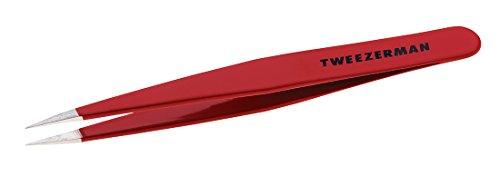 Tweezerman Studio Collection Point Tweezer Pinzette Spitze aus rostfreier Edelstahl Augenbrauen Haarentfernung feine Haare signature red 1241-RLLT