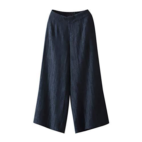 FRAUIT Damen Einfarbige Elegant Hose mit weitem Bein Baumwolle Leinen Lässige Hosen Weite Elastische Taille Palazzo Culottes Hosen Frauen Jogging Yoga Freizeit Strandhose Sommer Kleidung -