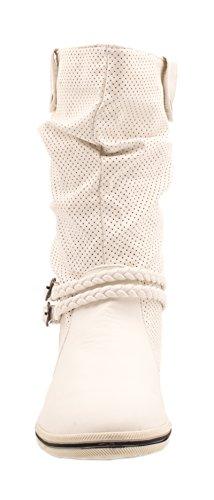 Elara Flache Damen Schlupfstiefel bequeme Stiefel Boots White X