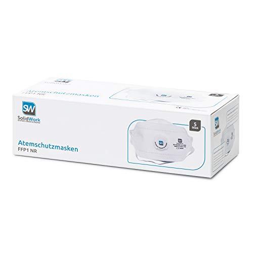 SolidWork Atemschutzmaske im 5er oder 10er Set - Premium Atemmaske - Perfekt anpassbare FFP1 Mundschutz Maske - Feinstaubmaske, Staubschutzmaske