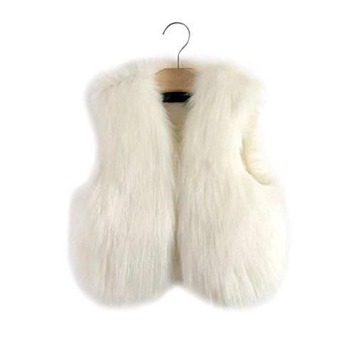 YYF Kinder Mädchen Faux-Pelz-Weste Outfits Winterwest Blazer Warm Faux Fur Coat Jacket Fellimitation Pelz Weste Jacke Babyweste -