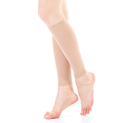Calze elastiche a compressione graduata (23-32 mmhg, classe 2) per uomo e donna beige