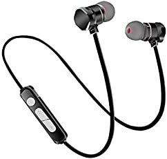 Bluetooth Headphones, Wireless Headphones, Smazing® Wireless Bluetooth Earphones Stereo Sweatproof Magnetic Earbuds Secure Fit For Sports Gym Running Exercising With Built-In Mic Microphone (X6 3rd Gen Black)