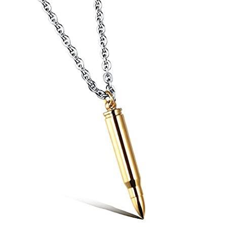 [M.JVisun] Mens Punk Bullet Cylinder Pendant Necklace 316L Stainless Steel Round Link Chain, Length 19.6