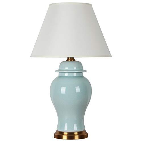 Jack Mall Lampe de chevet de chambre en céramique traditionnelle avec base en cuivre, pour la décoration de couloir du salon, commutateur de gradation/bouton-poussoir (en choisir un) (Couleur : G)