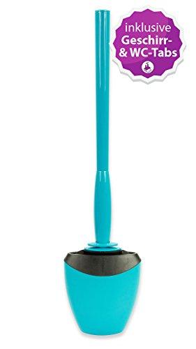 WcWunder antibakterielle Toilettenbürste ohne Borsten, CA petrol inkl. Wandhalter UND innovative WC- und Geschirr-Tabs