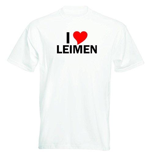 T-Shirt mit Städtenamen - i Love Leimen - Herren - unisex Weiß