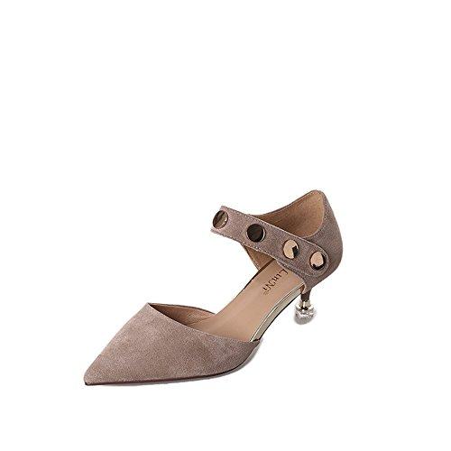 XZGC Feine Spitzen mit High Heel Sexy Spitze Schuhe, 39 EU, Hellbraun
