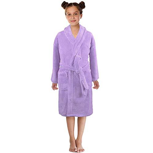 Alwayswin Kleinkind Jungen Mädchen Fest Flanell Bademäntel Handtuch Nachthemd Schlafanzug Nachtwäsche Teddy-Fleece Bademäntel Solide Weich Bademäntel mit Kapuze Bademantel