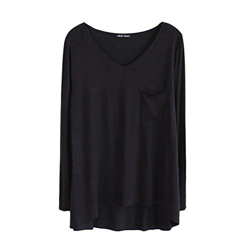 Klassisch Damen Langarmshirt Einfarbig Langarm Rundhalsausschnitt T-Shirt mit Brusttasche Schwarz
