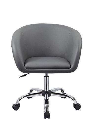 Drehstuhl mit Rollen Grau Schreibtischstuhl Arbeitshocker aus Kunstleder Hocker Kosmetikhocker Duhome 0544