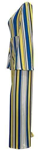 Les grenouillères Batwing manches col V Stripe Bodycon Party Clubwear Jumpsuit des femmes Jaune