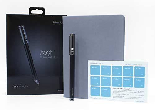 Livescribe Aegir Smartpen, Black Dolphin Professional Edition Bundle - Beinhaltet A5 Großes Executive lined Journal, zusätzliche Tintennachfüllpackung und Adna-Aufkleber (Executive Journal Black)