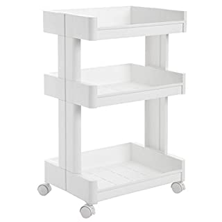 SONGMICS 3-Tier Plastic Rolling Cart PP Storage Trolley with Castors for Kitchen Bathroom Utility and Organisation Cart White KSC01WT