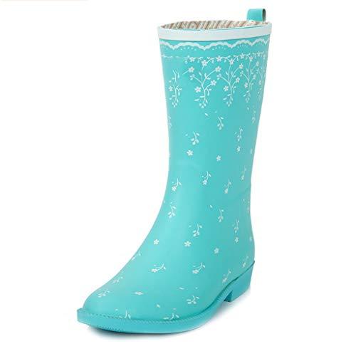 LJBOZ Botas de Lluvia para Mujer, Impermeables y lluviosas, con Dos Zapatos Antideslizantes para Lluvia, Zapatos de Goma Four Seasons Botas de Lluvia (Color : B, Size : US6.5)