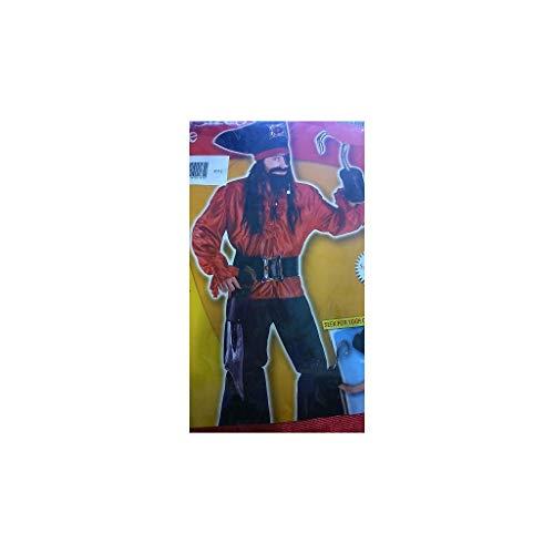 Disfraces Josman - Disfraz pirata adulto rojo talla única
