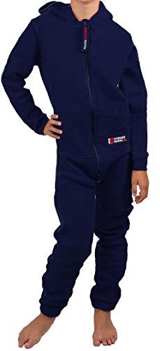 Gennadi Hoppe Kinder Jumpsuit - Jungen, Mädchen Onesie Jogger Einteiler Overall Jogging Anzug Trainingsanzug, Navy,158-164