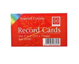 Silvine record cards 127x77mm ruled pack of 100 in assorted colours