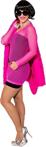 Ladies 1980s 80s Neon Pink Mesh Fish Net Long Top Mini Dress Hen Do Night Party Theme Weekend Rave Fancy Dress Costume - Rave Fancy Dress Kostüm