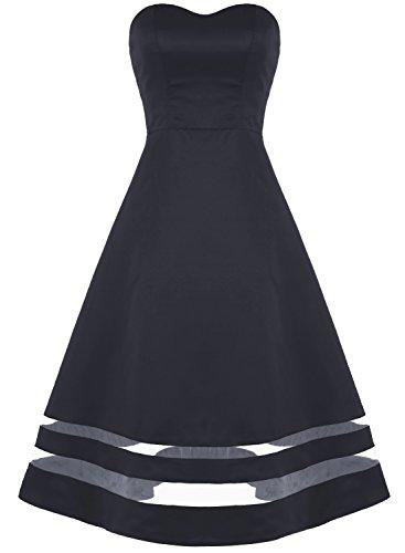 Bbonlinedress Robe de Soirée et Cérémonie de bandeau A-Line sans bretelle sans manches en satin Noir