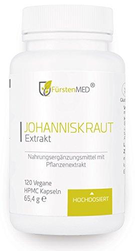 FürstenMED® Johanniskraut Extrakt 10:1 - Echtes Johanniskraut hochdosiert 120 Vegane Kapseln aus Deutschland ohne Zusatzstoffe (Tabletten Original 60)