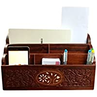 Stylla London Wooden Office Desk Tidy Organiser Letter Cum Mobile Stand Office Storage, Big Letter Rack inches Carved White Work, Multipurpose Wooden Rack for Home and Office Desk Accessories12 x 4.