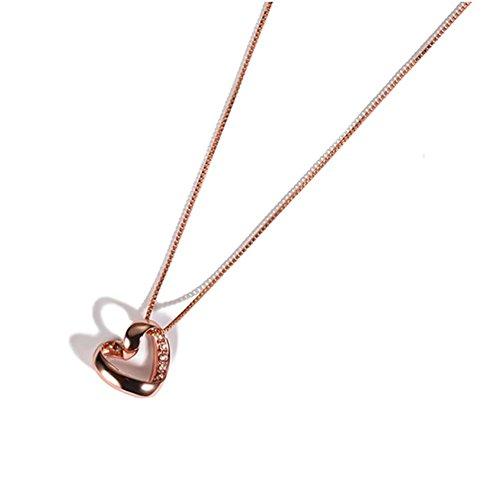 925 Silber Valentinstag Geschenk Herz-geformt 18k Rose Gold Anhänger Halskette Gesamtlänge 45cm , rose gold - chain length 45cm
