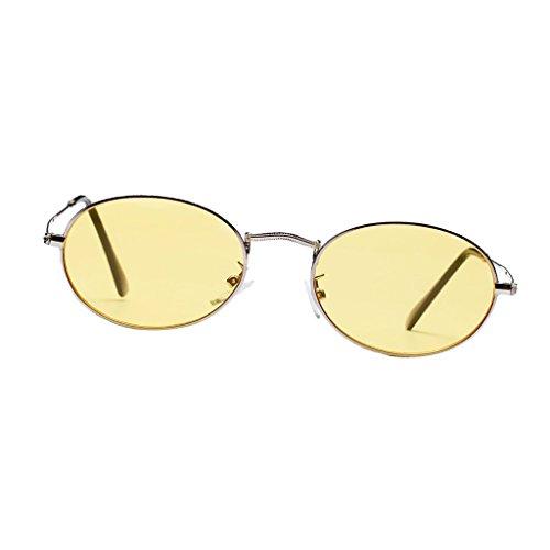 D DOLITY Herren Damen Retro Kleine ovale Sonnenbrille Metallgestell Brillen Katzenauge Metall Rand Rahmen Sunglasses - Gelb