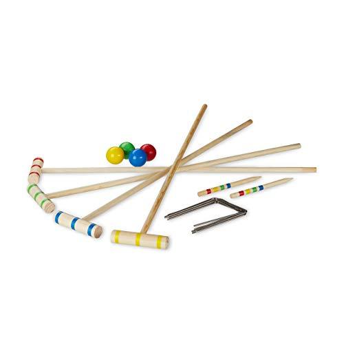 relaxdays Krocket Spiel, 4 Spieler, Kinder & Erwachsene, Komplettset mit Tasche, Croquet Set Holz, Schläger 75 cm, Natur