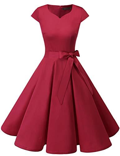 5dd4e2854ca93 Dresstells Version 6.0 Vintage 1950 s Robe de soirée Cocktail rétro Style  années 50 Manches Courtes DarkRed
