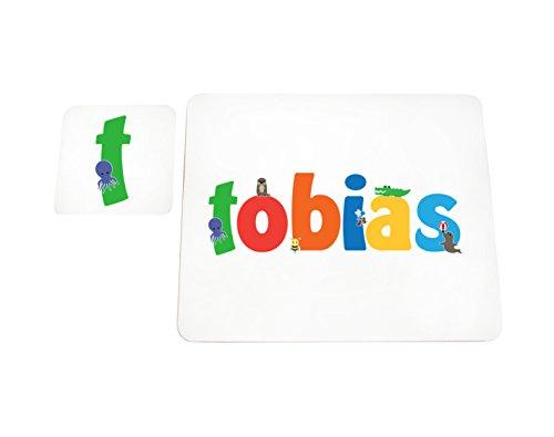 Little Helper Tobias de Coast erandpl acemat de 15de personnalisée, fille nom et dessous de 4 sets de table avec finition brillant, Tobias